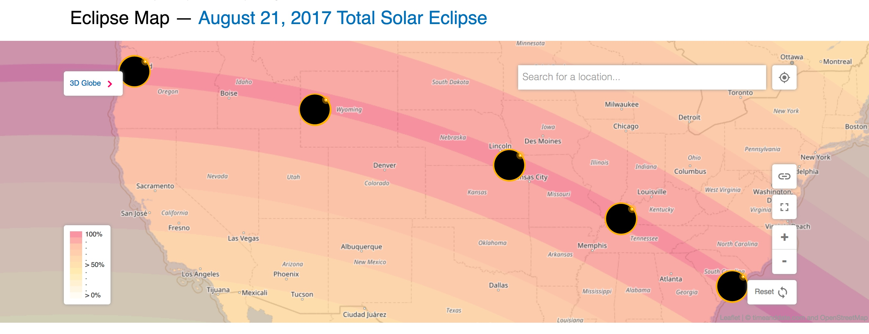 Map of the path of totality of the 2017 Total Solar Eclipse