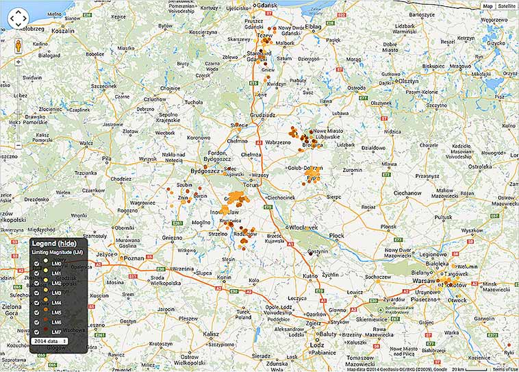 Map of Poland with Globe at Night data