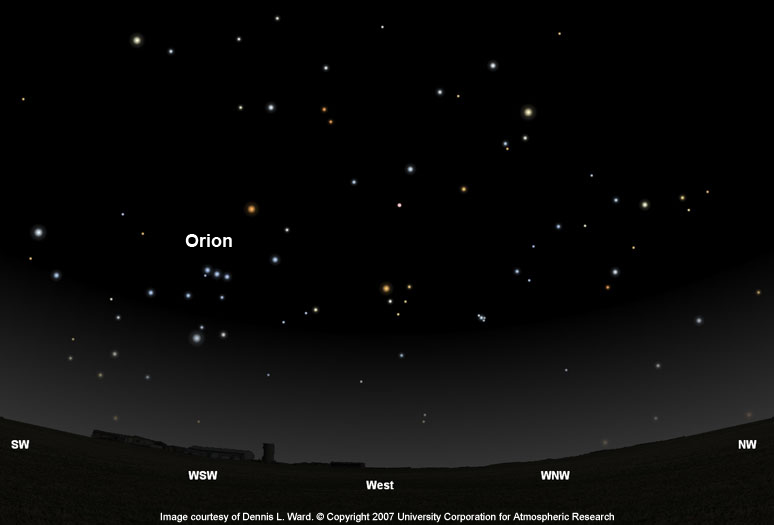 Orion Finder Chart 40 degrees North latitude
