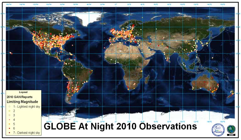 light pollution (from http://www.globeatnight.org)