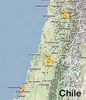 map of Chile showing 2014 Globe at Night Data