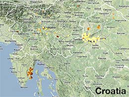 map of Croatia showing 2014 Globe at Night Data