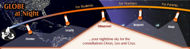 GLOBE at Night header observe section
