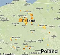 map of Poland showing 2014 Globe at Night Data