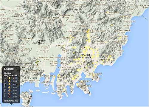 Map of South Korea displaying GAN Measurements from 2014