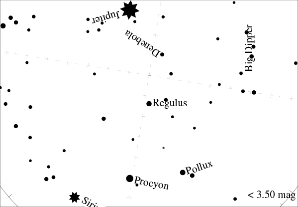 sky with Leo at 40 degrees North latitude